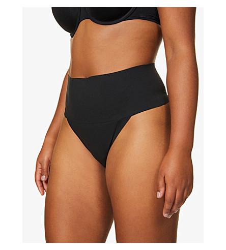 SPANX Undie-tectable 高腰平纹针织面料丁字裤 (黑色