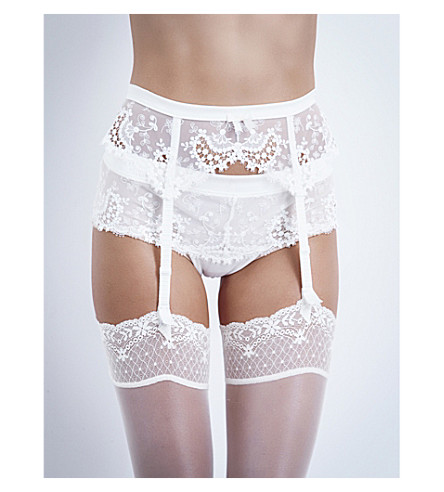 SIMONE PERELE Wish lace suspender belt (Ivory