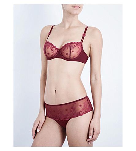 SIMONE PERELE Délice embroidered stretch-tulle half-cup bra (Garnet