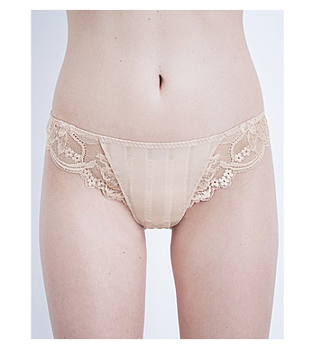SIMONE PERELE Amour jersey and stretch-lace tanga briefs (Nude