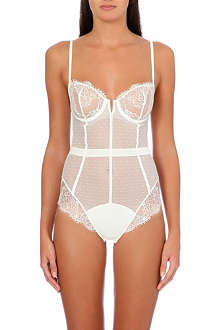 SIMONE PERELE Velvet lace and tulle bodysuit