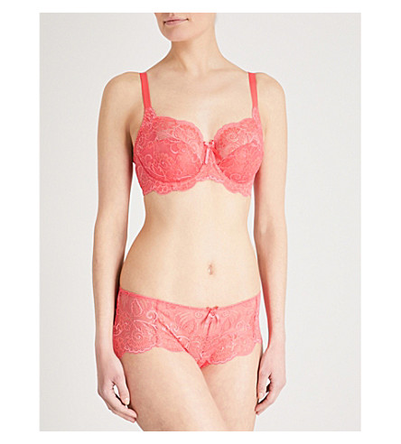 PANACHE Andorra floral-lace full-cup bra (Coral