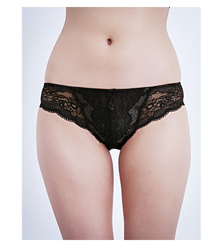 PANACHE Clara stretch-lace and mesh briefs (Charcoal/black