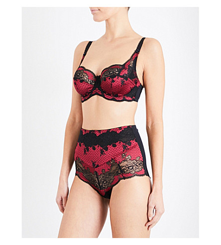 PANACHE Clara stretch-lace and mesh full-cup bra (Black/ruby