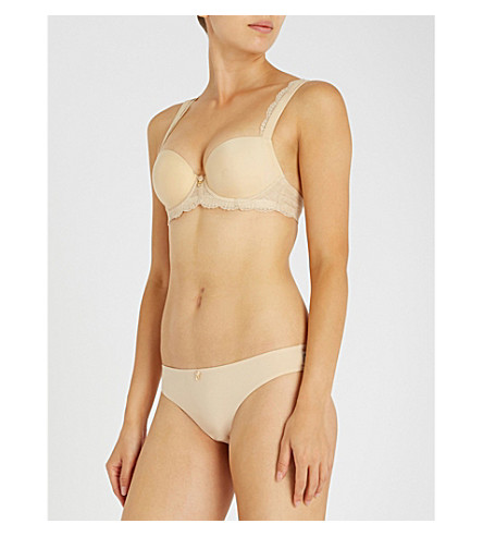 PANACHE Ardour jersey and stretch-lace sweetheart moulded bra (Nude