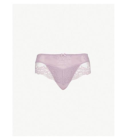 PANACHE 艾娃花卉蕾丝和网三角裤 (黑糊糊 + 丁香