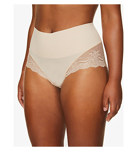 SPANX Undie-tectable floral-lace hipster briefs (Soft+nude