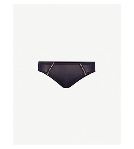 DKNY Lace-trim stretch-jersey bikini briefs (Black/glow