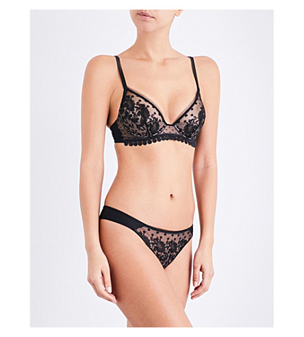 MAISON LEJABY Baisers de Paris embroidered stretch-tulle half-moon triangle bra (Black