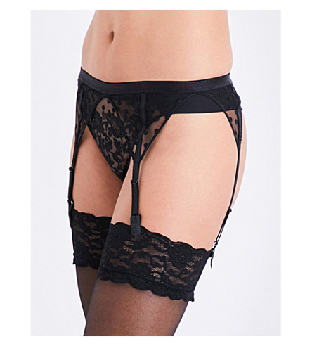MAISON LEJABY Baisers de Paris embroidered stretch-tulle garter belt (Black