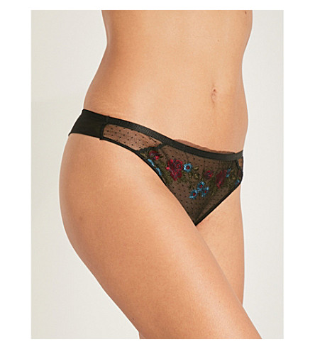 MAISON LEJABY Secret Garden stretch-tulle tanga briefs (Black