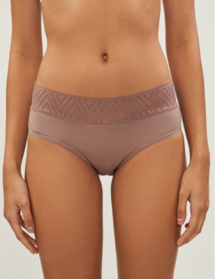 Hiphugger lace and stretch-cotton briefs