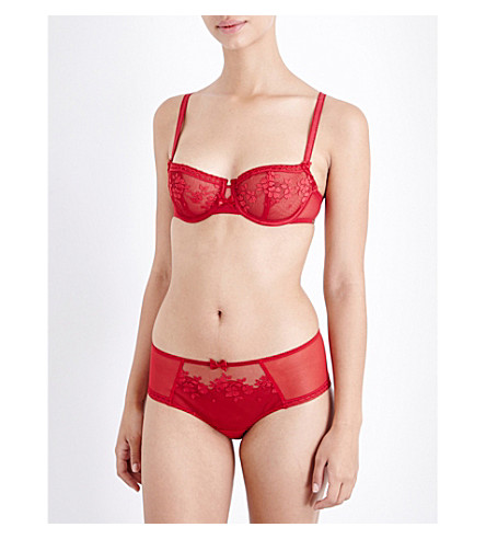 CHANTELLE Intuition mesh balconette bra (Candy+apple