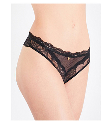 CHANTELLE Présage floral-lace tanga briefs (Black