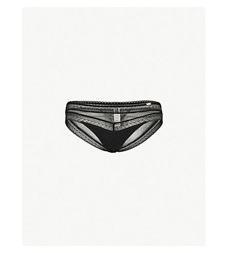 CHANTELLE Festivité lace and mesh briefs (Black