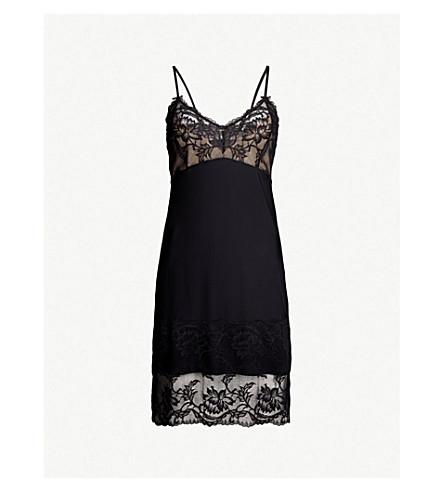 FANTASIE Bronte lace and satin chemise (Black