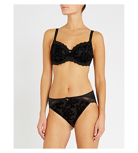 FANTASIE Mae flocked mesh and stretch-satin underwired full-cup bra (Black