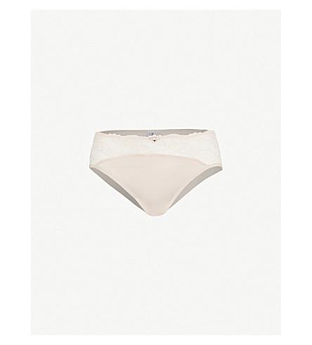 WACOAL Éclat embroidered stretch-tulle and satin bikini briefs (Cafe+au+lait