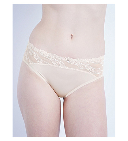 WACOAL Éclat embroidered stretch-tulle and satin bikini briefs (Cafe+au+lait