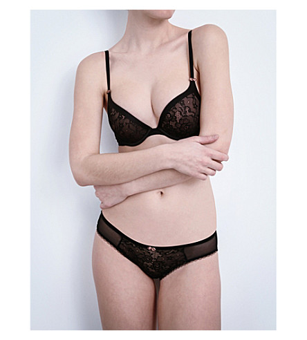 DKNY Super Sleeks mesh and lace push-up bra (Black/brownie