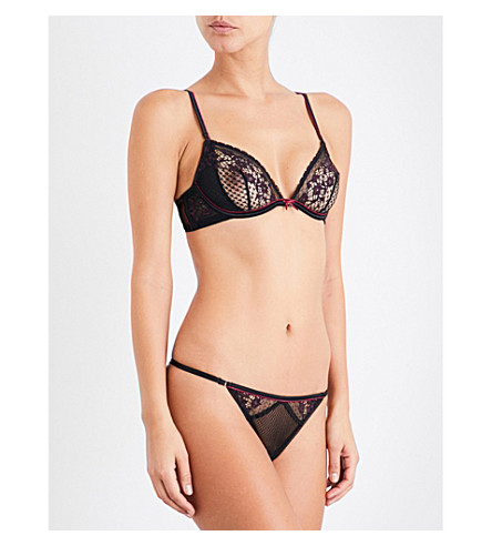 HEIDI KLUM INTIMATES Heather stretch-lace underwired bra (Black/rhododendron