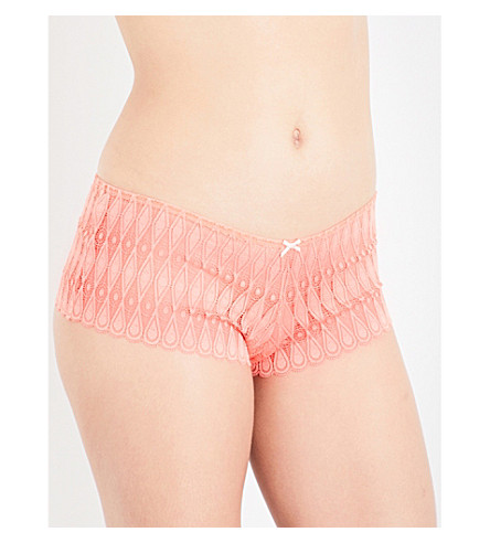 HEIDI KLUM INTIMATES Dreamtime lace boyshort briefs (Fus+coral/scallop+shell