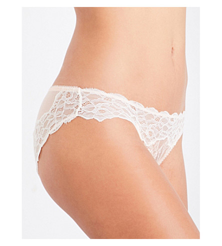 HEIDI KLUM INTIMATES Prim Desire stretch-lace bikini briefs (Pale+blush/gardenia