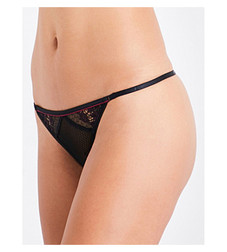 HEIDI KLUM INTIMATES Heather stretch-lace thong (Black/rhododendron