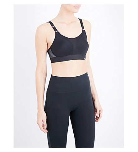 TRIUMPH Triaction stretch-cotton sports bra (Black