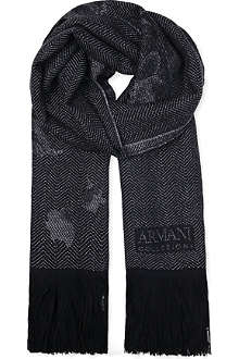 ARMANI COLLEZIONI Frayed-edge herringbone scarf