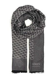 ARMANI COLLEZIONI 3D checked logo scarf