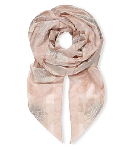 ARMANI COLLEZIONI Floral-print silk scarf (Dusky pink
