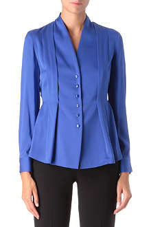 ARMANI COLLEZIONI Collarless silk pleated shirt