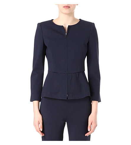 ARMANI COLLEZIONI Collarless peplum-waist jacket (Navy