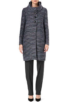 ARMANI COLLEZIONI Double funnel neck tweed coat
