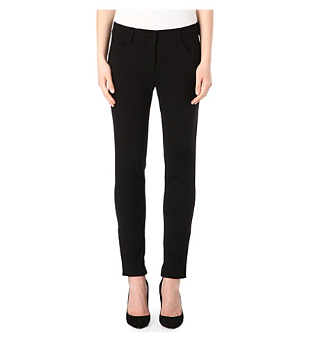 ARMANI COLLEZIONI Stretch-jersey skinny trousers (Black