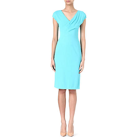 ARMANI COLLEZIONI Pleated v-neck dress (Aqua