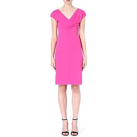 ARMANI COLLEZIONI Pleated v-neck dress (Pink