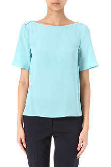 ARMANI COLLEZIONI Layered-shoulder silk top