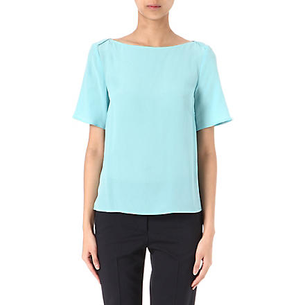 ARMANI COLLEZIONI Layered-shoulder silk top (Aqua