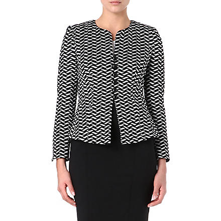 ARMANI COLLEZIONI Geometric knitted jacket (Black/white