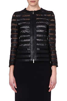 ARMANI COLLEZIONI Lace-panelled leather jacket
