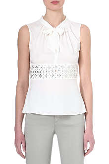 ARMANI COLLEZIONI Jewelled silk-blend top