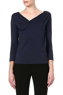 ARMANI COLLEZIONI Ruched shoulder jersey top