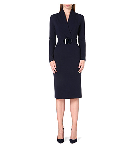 ARMANI COLLEZIONI Fitted stretch-crepe dress (Navy