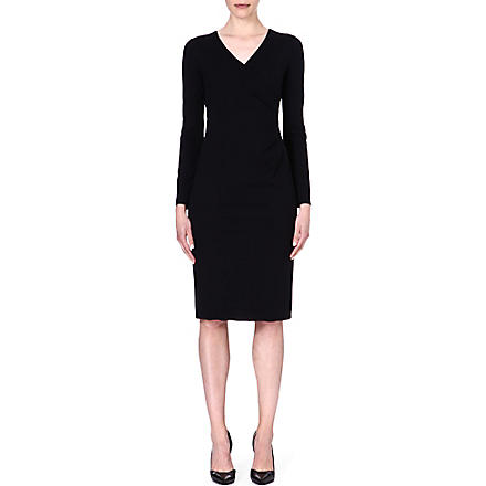 ARMANI COLLEZIONI Pleated-side jersey dress (Black