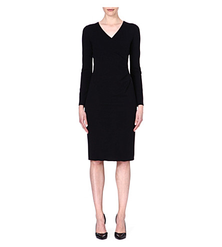ARMANI COLLEZIONI Pleated-side jersey dress (Black