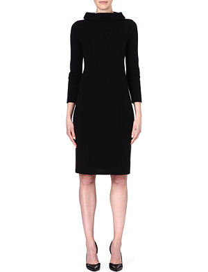 ARMANI COLLEZIONI Stand-collar wool-blend dress