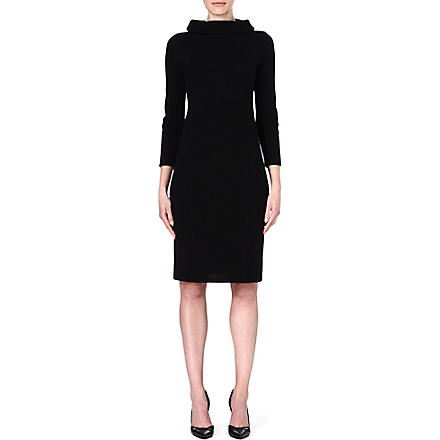 ARMANI COLLEZIONI Stand-collar wool-blend dress (Black