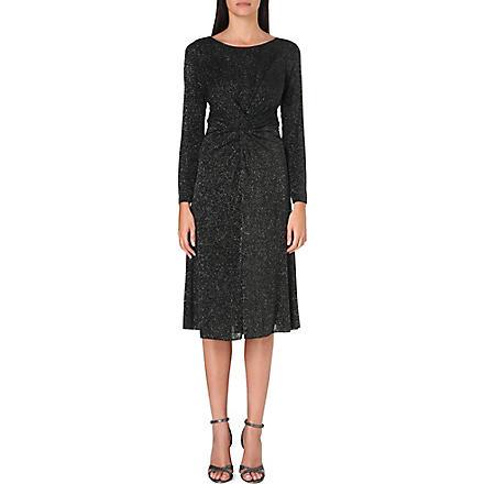 ARMANI COLLEZIONI Twisted lurex midi dress (Silver
